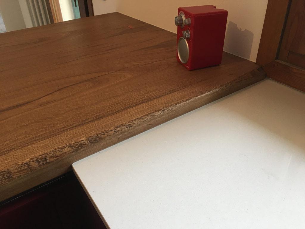 piano snack legno massiccio di rovere so.6 bordo scorticato